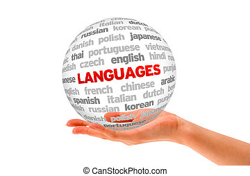 Languages - Hand holding a Languages Word Sphere on white...