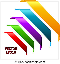 Coloured corner ribbons, vector illustration