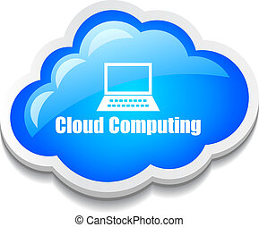 Vector cloud computing icon - Cloud computing icon on white...