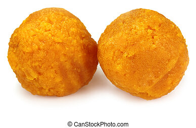 Laddu of Indian Subcontinent over white background