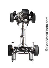 Car chassis with engine - Image of car chassis with engine...