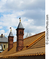 Chimney on a roof of an old house