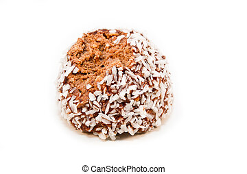 Half eaten - A half eaten chocolate ball isolated on a white...