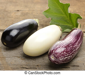 Eggplants Assortment On Wooden Background