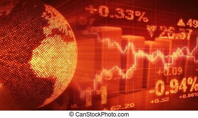 globe and graphs orange stock loop - computer generated...
