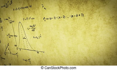 math physics formulas on old paper panning, computer...