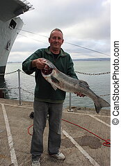 Large Seabass - A fisherman with his rod caught specimen...