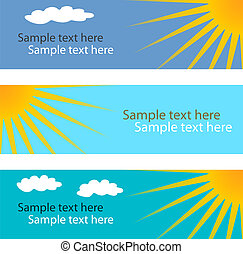 Collection of blue horizontal banners with sun.