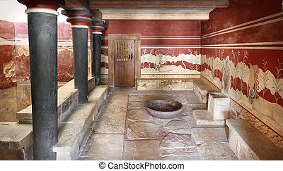 Throne hall Knossos Crete Greece - Inside view of Throne...