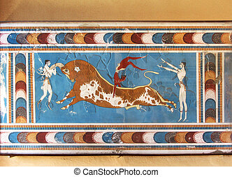 Minoan mural fresco bull fighters - Minoan mural fresco bull...