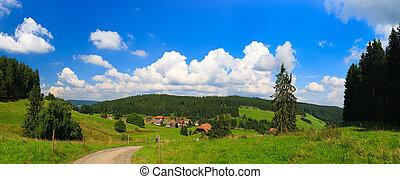 Sumer landscape - green fields, the blue sky