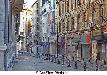 Old streets without people , Istanbul. Turkey, taken early morning