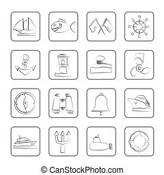 Marine, sea and nautical icons