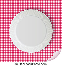Vector plate on tablecloth - vector plate on pink square...