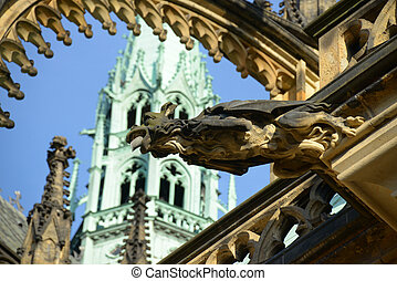 A gargoyle on the Cathedral. Vitus, St. Wenceslas and St....
