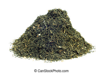 dried dill weed - a pile of dried dill weed on a white...