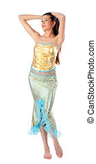 Young mermaid - Young beautiful woman in mermaid costume...