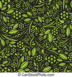 Seamless vector wallpaper Green vegetation repeating pattern...