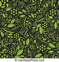 Seamless, vector, papel pintado, verde, Ve