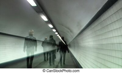 Timelapse of a pedestrian tunnel - timelapse peaple walking...