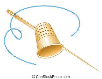 Ouro, dedal, agulha, fio