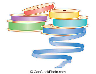 Spools of Pastel Ribbons