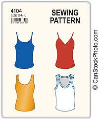 Sewing Pattern, Tank tops - Fashion sewing pattern for...
