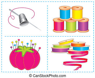 Sewing Accessories, Brights - Sewing accessories: silver...