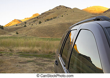 Reflection of Oregon High Desert on Car Windows