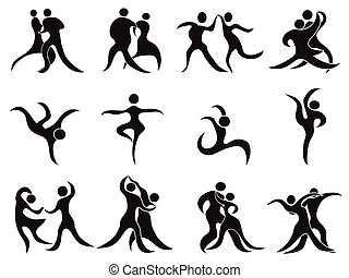 collection of abstract dancers - isolated abstract black...