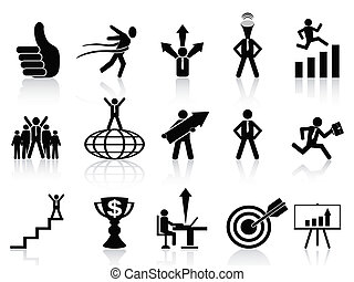 successful business icons set - set of successful business...