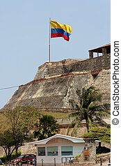 Colombian Flag over Castillo San Felipe de Barajas at...