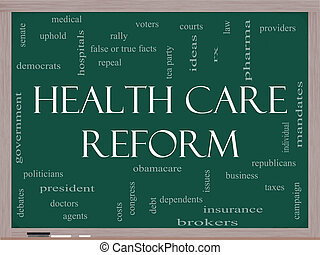 Health Care Reform Word Cloud Concept on a Blackboard with...
