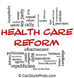 Health Care Reform Word Cloud Concept in Red Caps - Health...