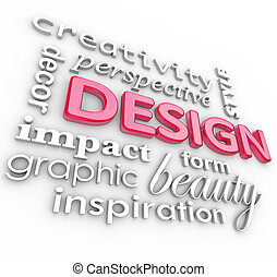 Design Words Collage Creative Perspective Style - The word...
