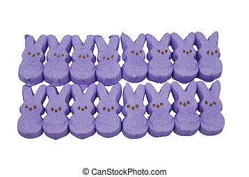 purple bunny easter candy over a white background