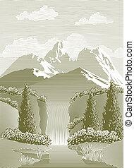 Woodcut Waterfall - Woodcut style illustration of a mountain...