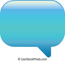 Blue speech bubble on white background
