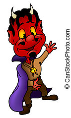 Devil - Colored Cartoon Illustration, Vector