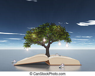 Open book with light bulb tree