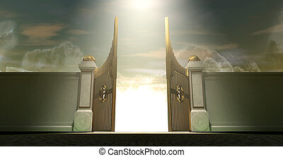 Heavens Open Gates - The gates to heaven opening under an...
