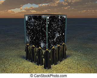 The phantom bearers - Cloaked figures before cube of space