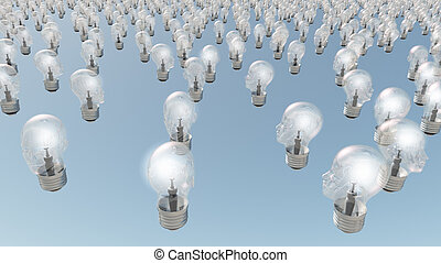 Group of glowing  human head lightbulbs