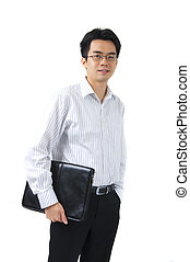 young asian businessman holding a suitcase
