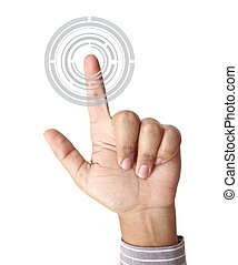 Hand pushing hitech circle button on touch screen