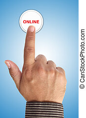 Hand Pushing Online Button