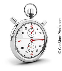 3d stopwatch icon - 3d chrome stopwatch icon, isolated white...