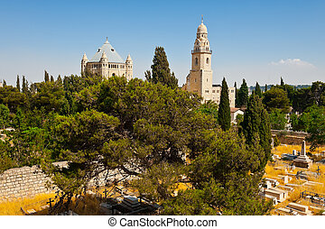 Mount Zion - Church of Dormition and Bell-Tower on Mount...