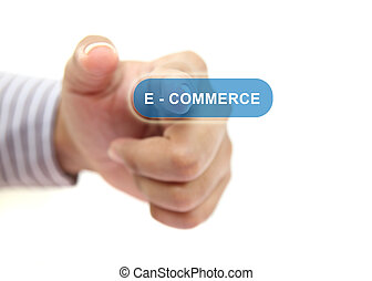 hand pushing e-commerce button