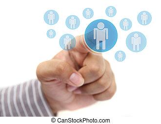 hand pushing human button